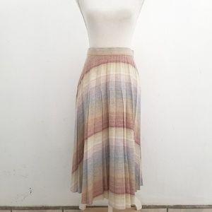 Vintage Pastel Wool High Waist Pleated Skirt
